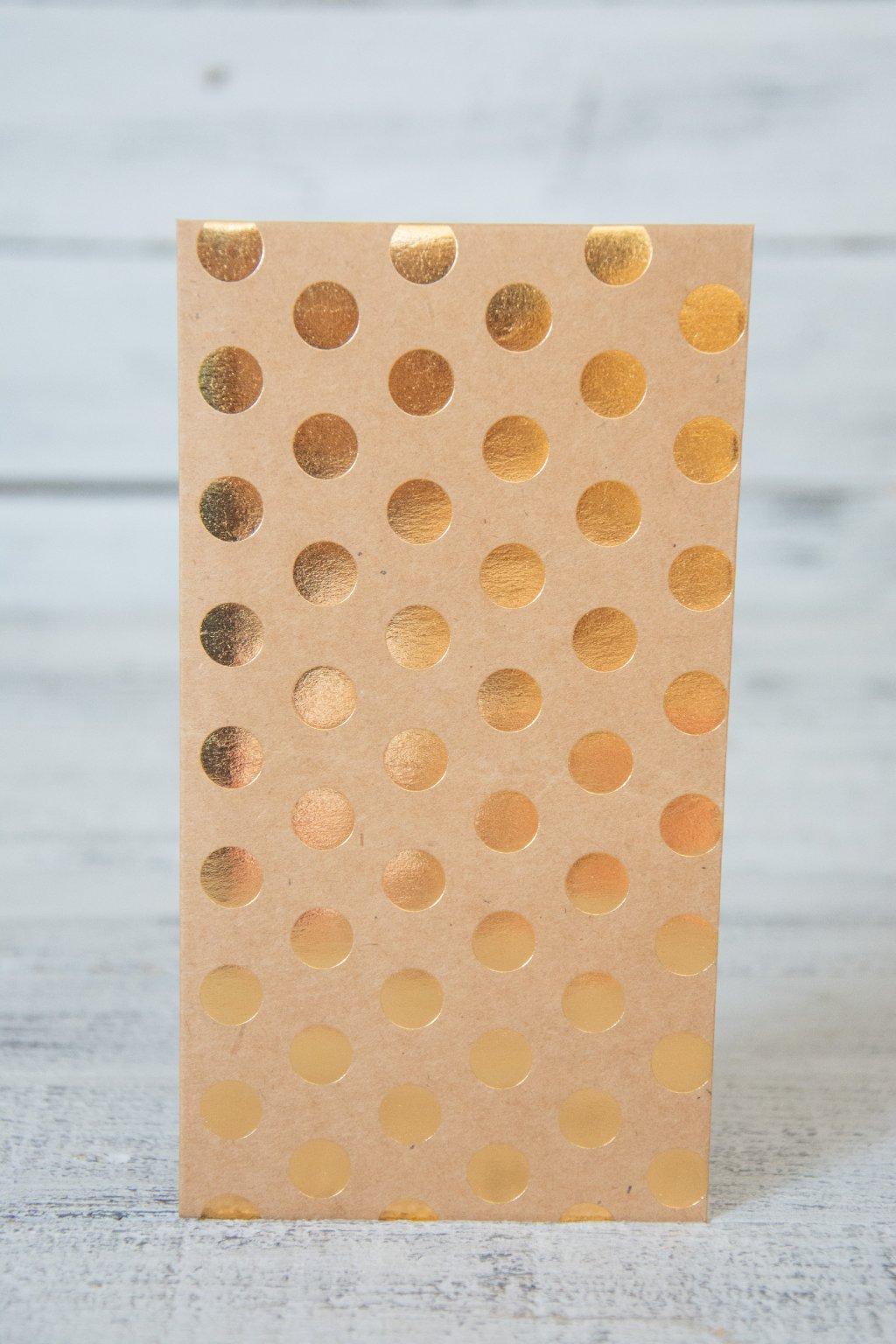 Dárková zlatá obálky rozměr 12 x 19 cm