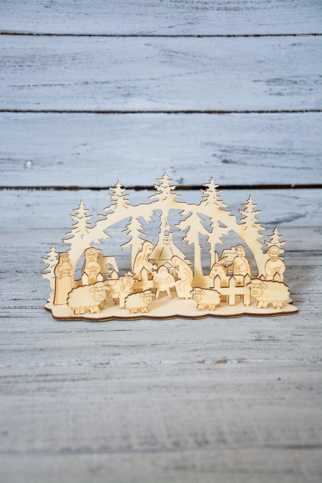 Dřevěný betlém.  Rozměr 20,5 x 10,5 cm.  Dodáván rozložený.