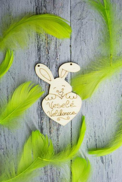 Zajíček s nápisem Veselé velikonoce