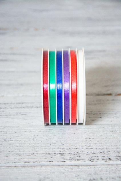 Vázací stuhy na špulce.  6 barev  Rozměr 0,5 cm x 10 m