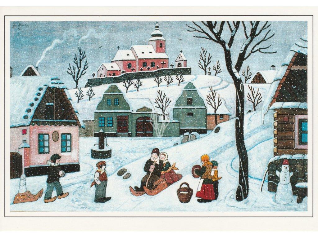 Pohlednice Josef Lada - Sáňkující děti (1952)