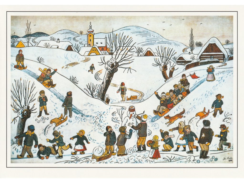 Pohlednice Josef Lada - Dětské hry v zimě (1936)