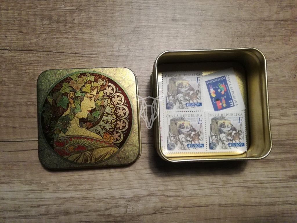 14105 1 plechova krabicka na znamky a mucha ivy