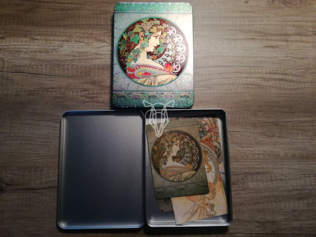14063 1 plechova krabicka na znamky a pohledy brectan alfons mucha