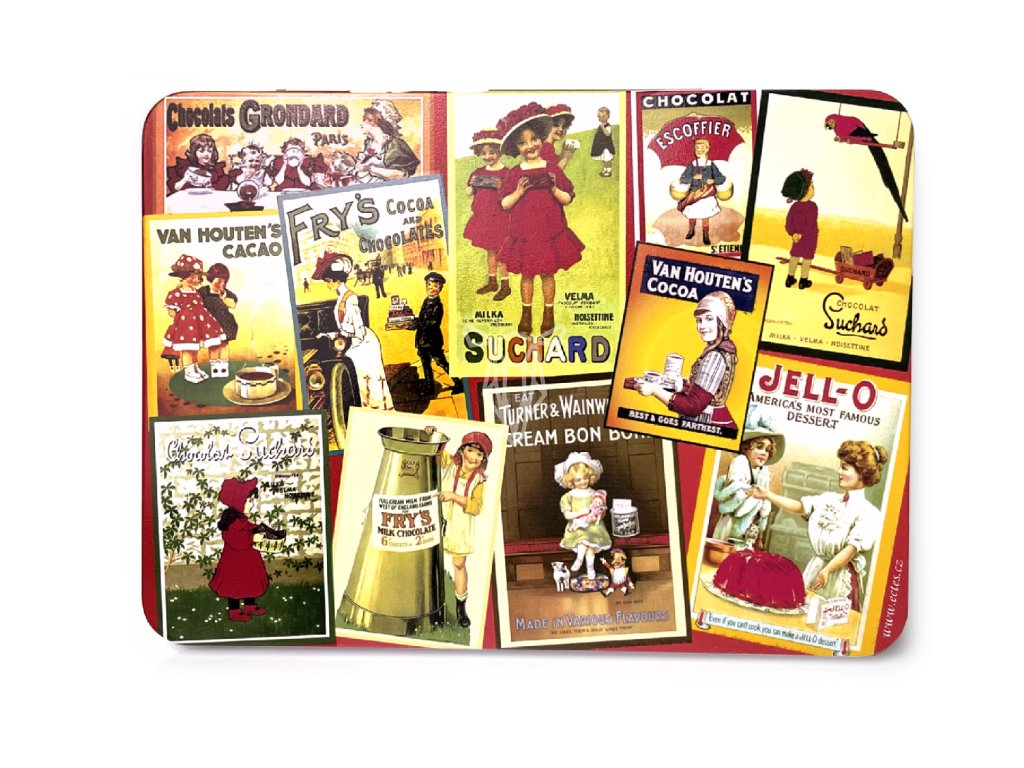 Plechová krabička na známky a pohledy - Čokoláda červená