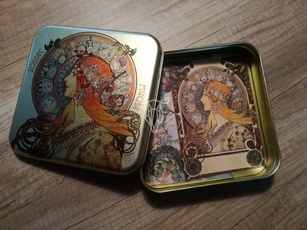 14072 plechova krabicka na znamky a pohledy zverokruh alfons mucha