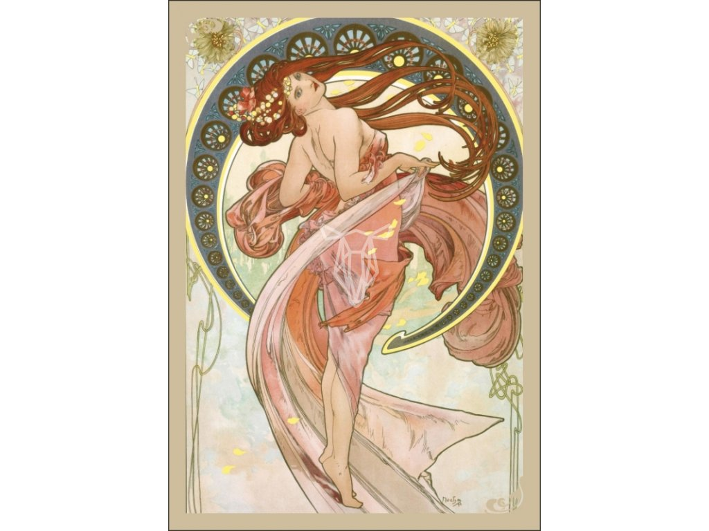 13352 3 pohlednice alfons mucha dance tanec