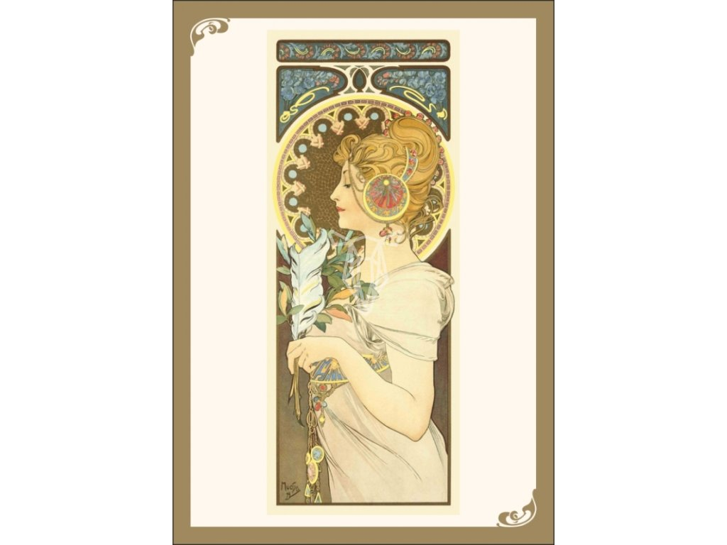 13364 3 pohlednice alfons mucha feather pirko