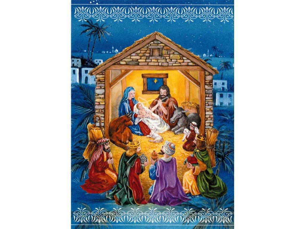 1178 pohlednice betlem v modrem s textem