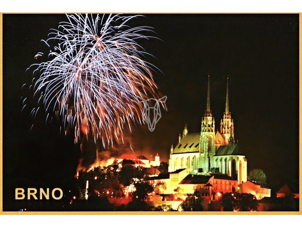 3485 2 pohlednice brno ohnostroj