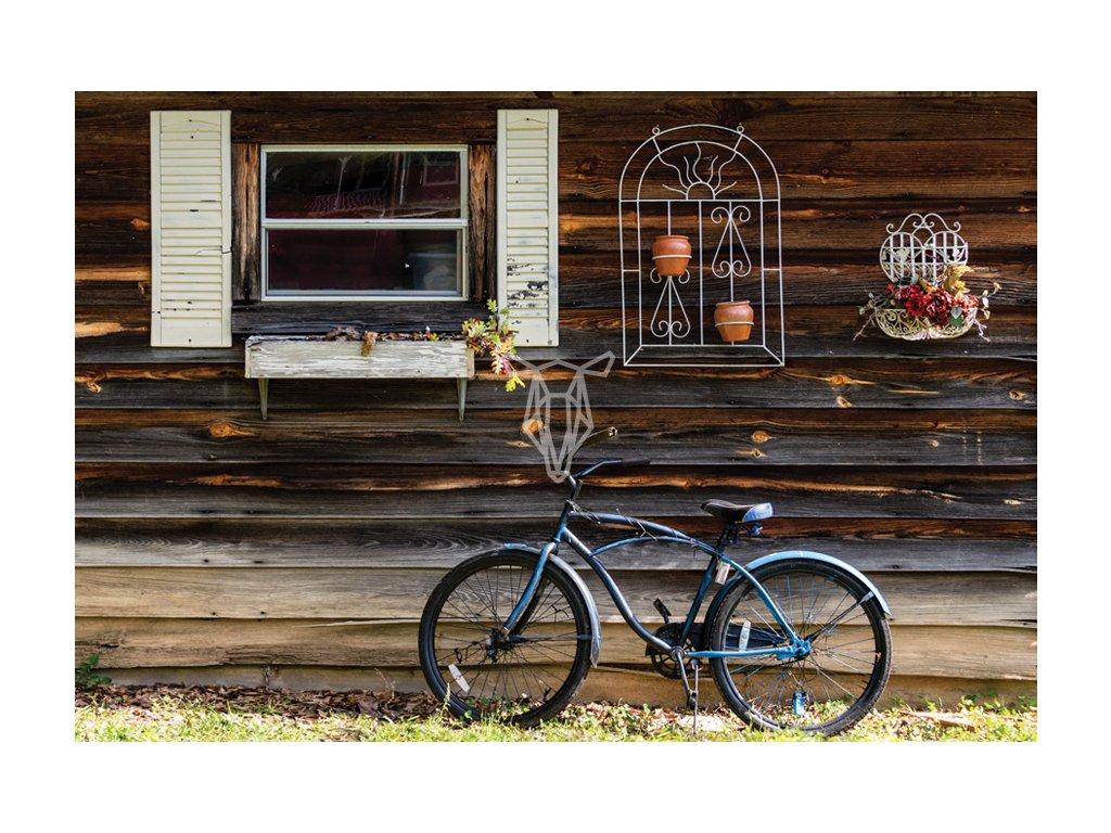Rower i stary drewniany domek