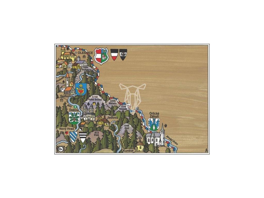 15896 2 pohlednice destne v orlickych horach putovani krajinou s erby