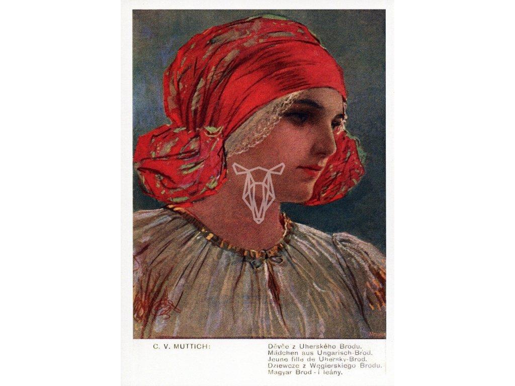 4466 2 pohlednice devce z uherskeho brodu c v muttich