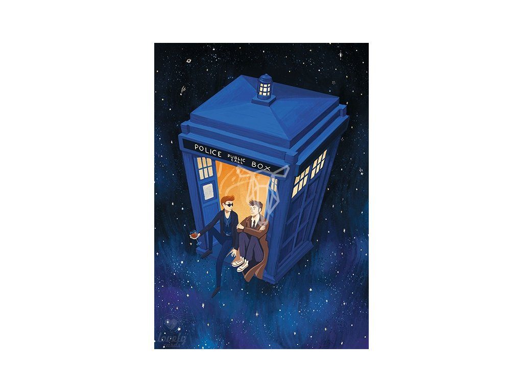 18347 1 pohlednice doctor and crowley v tardis