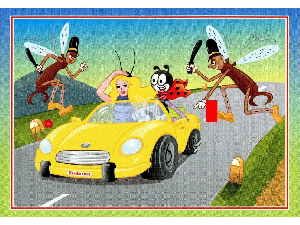 3215 2 pohlednice ferda mravenec s beruskou ve zlutem kabrioletu
