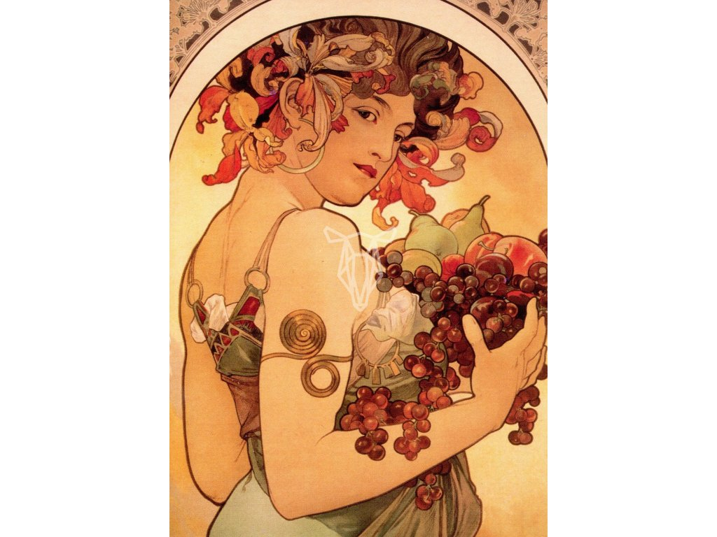 2138 2 pohlednice fruit alfons mucha ovoce