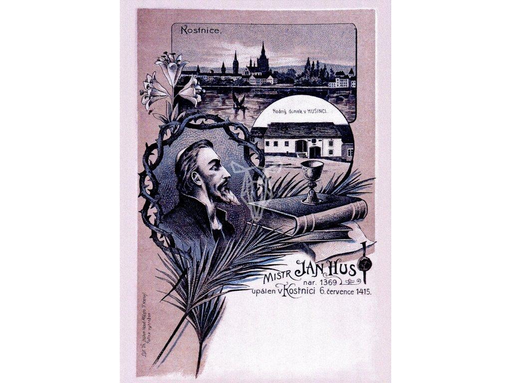 6377 2 pohlednice jan hus