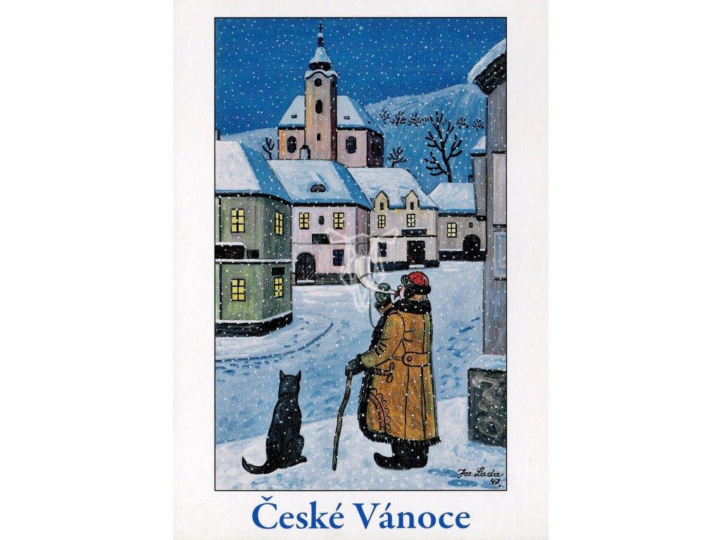 4289 2 pohlednice josef lada ceske vanoce ponocny 1947