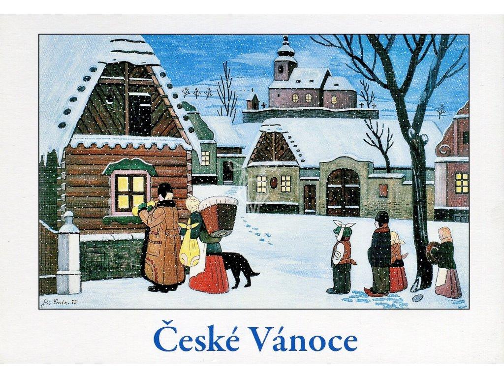 4280 2 pohlednice josef lada ceske vanoce slouha vytrubuje 1952