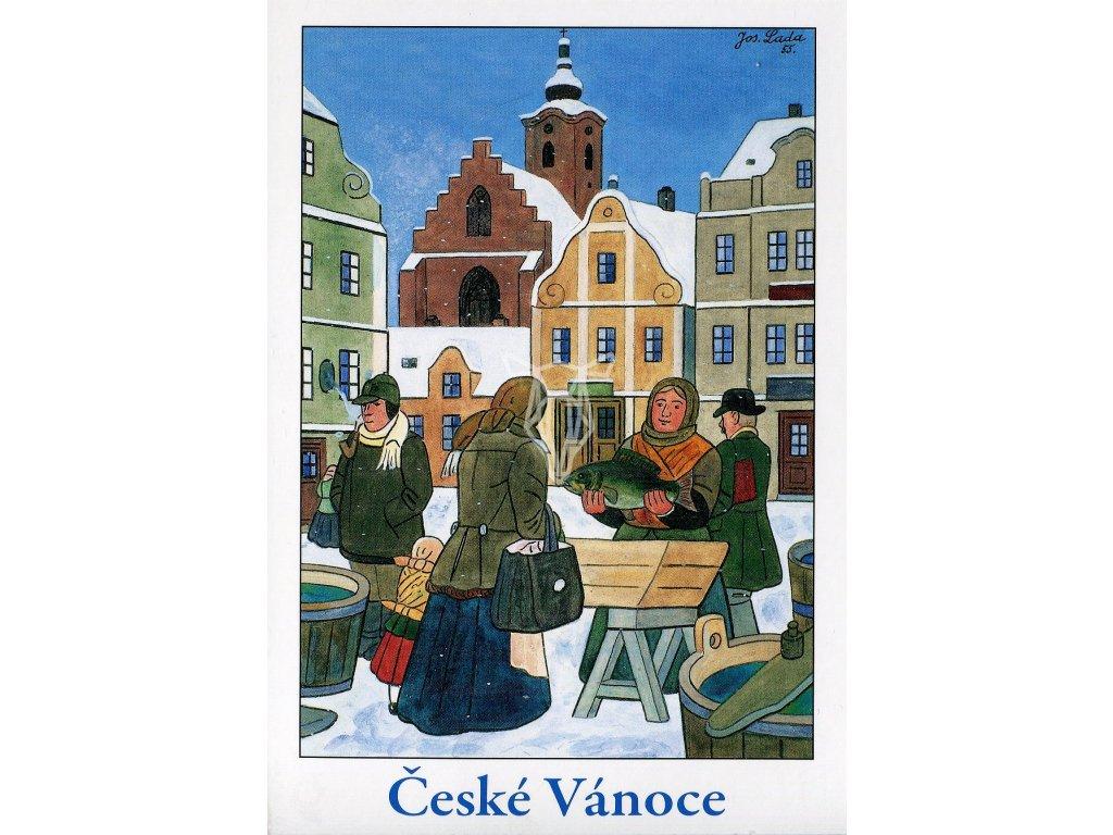 4286 2 pohlednice josef lada ceske vanoce vanocni kapr 1955