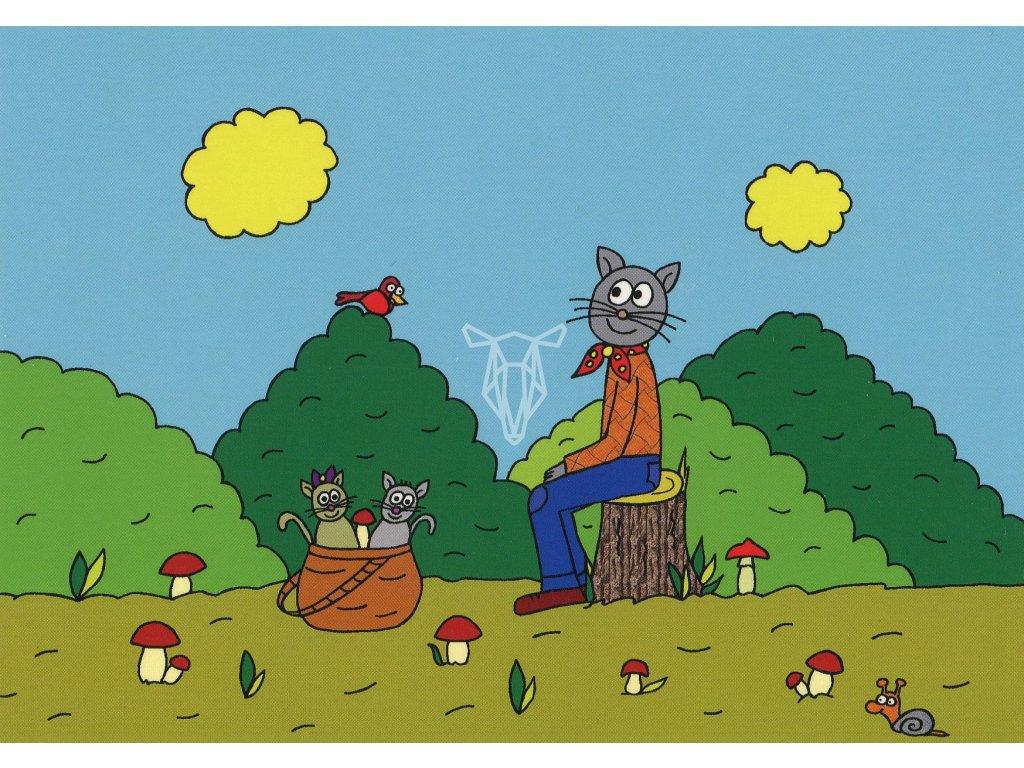 980 pohlednice kocour s ratolestmi v houbareni ponoreni