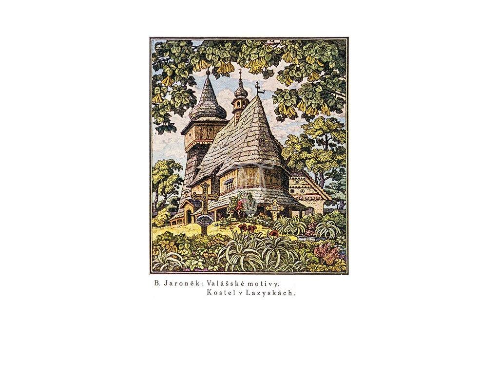 14627 3 pohlednice kostel v lazyskach valasske motivy