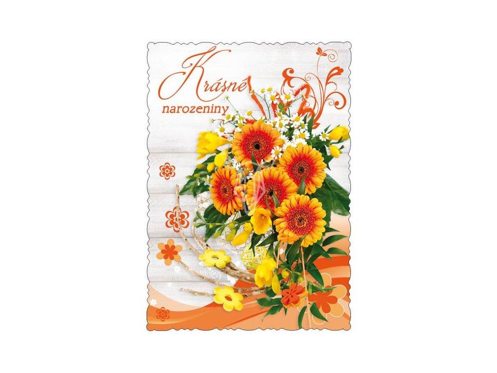 16409 1 pohlednice krasne narozeniny oranzovo zlata