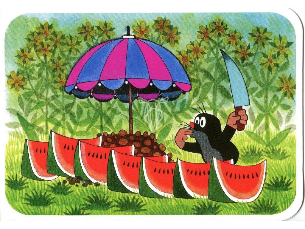 8525 2 pohlednice krtecek a meloun