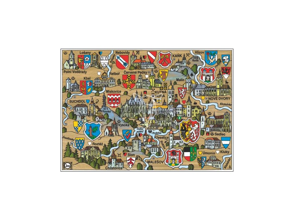 14174 4 pohlednice kutna hora putovani krajinou s erby