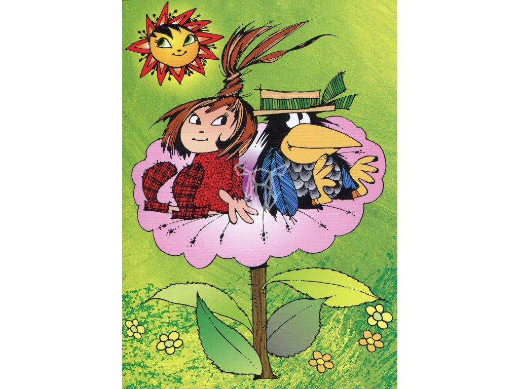 6209 2 pohlednice mala carodejnice s havranem na kvetu