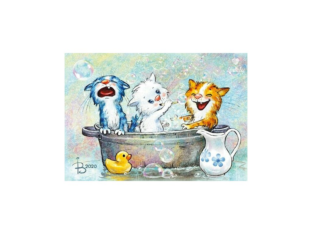 Modern 2020 Postcard Bathing Blue Cats Kitty Kitten