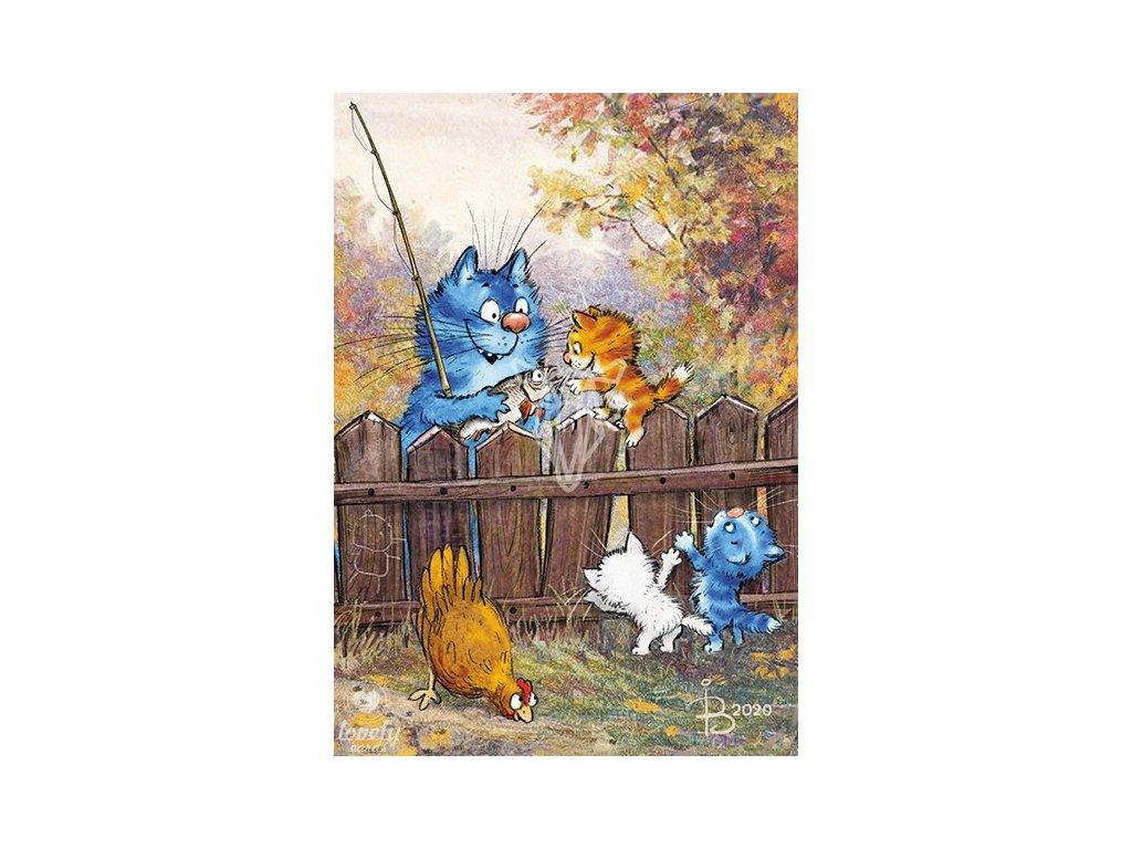 17462 1 pohlednice modre kocky tata chytil rybu