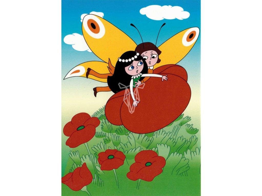 12227 2 pohlednice motyl emanuel a makova panenka mezi maky