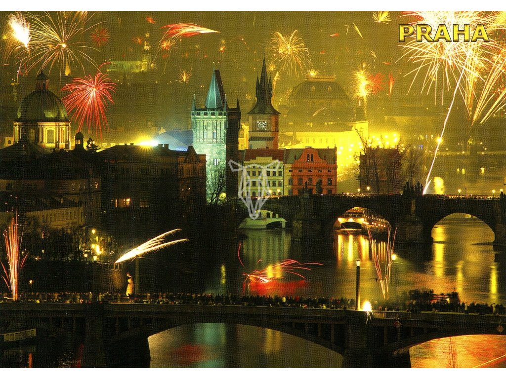 146 pohlednice praha ohnostroje