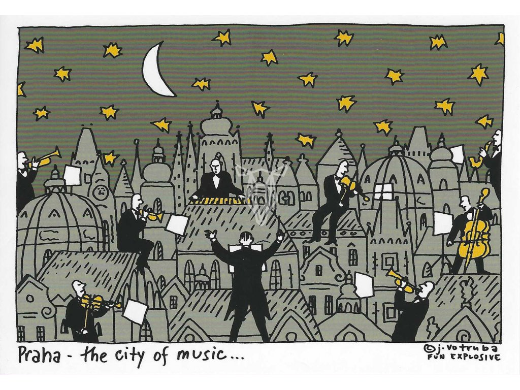 14294 3 pohlednice praha the city of music