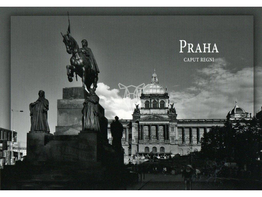 6005 2 pohlednice praha socha sv vaclava a narodni muzeum