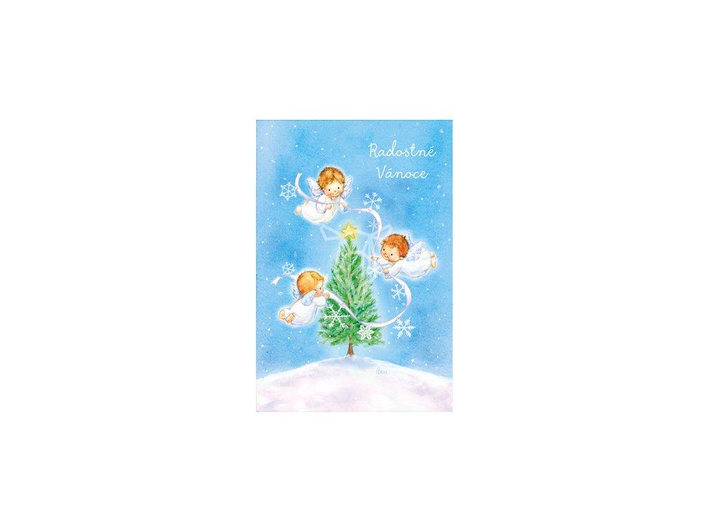 17060 pohlednice radostne vanoce s andliky