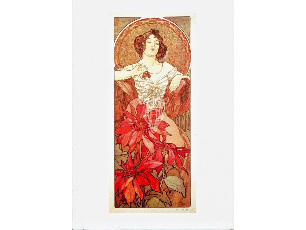3299 2 pohlednice ruby alfons mucha rubin