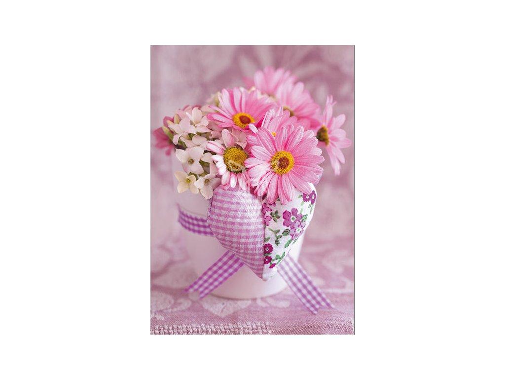 17999 pohlednice ruzova kytice