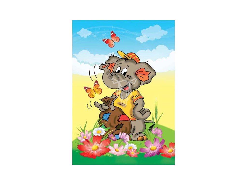 15353 3 pohlednice slon s pytlem