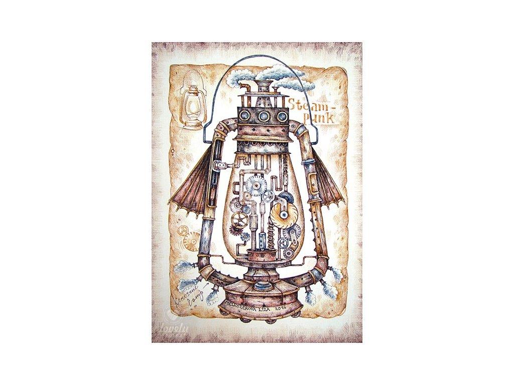 13778 2 pohlednice steampunkova lampa