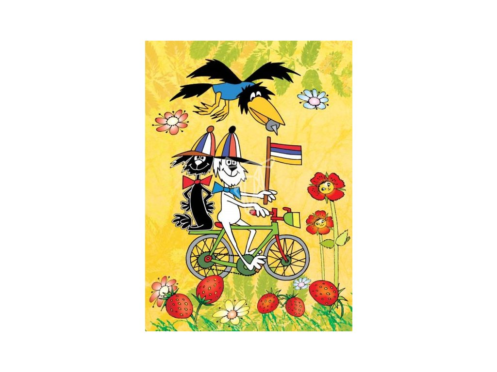 12611 3 pohlednice staflik spagetka a zlomyslna vrana