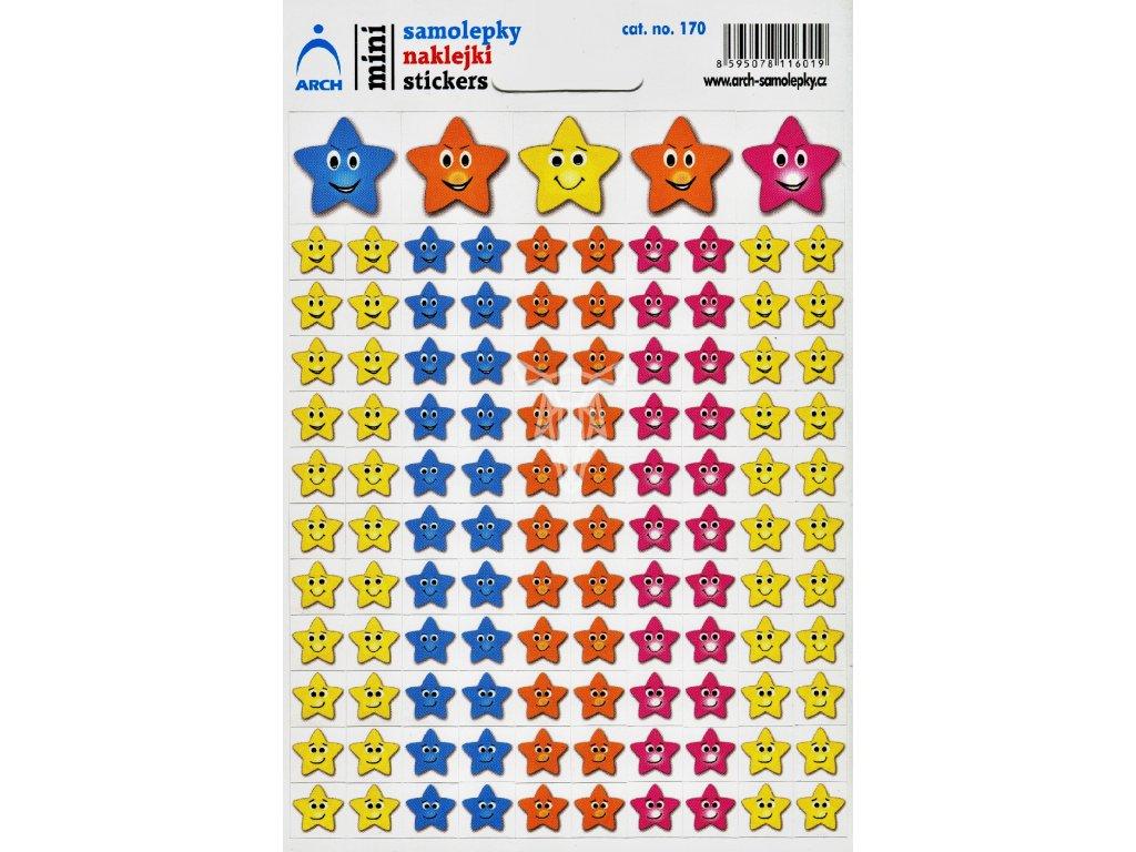 3062 1 mini samolepky barevne hvezdicky smajliky 11 5 x 17 cm