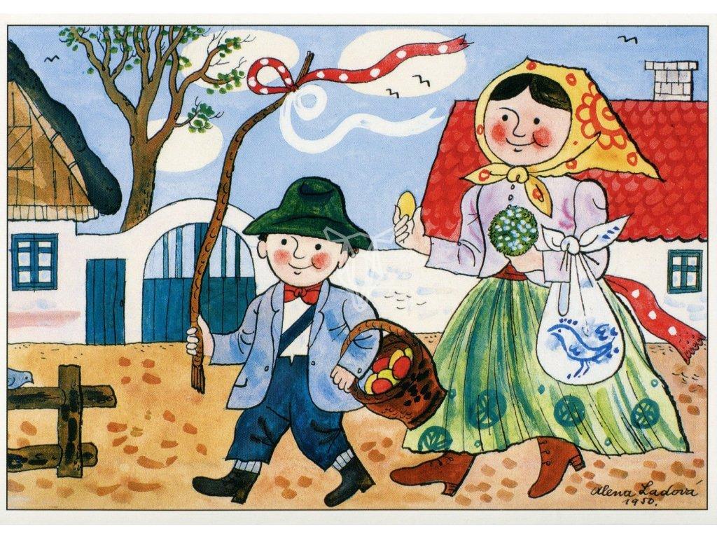431 pohlednice velikonoce alena ladova 1950