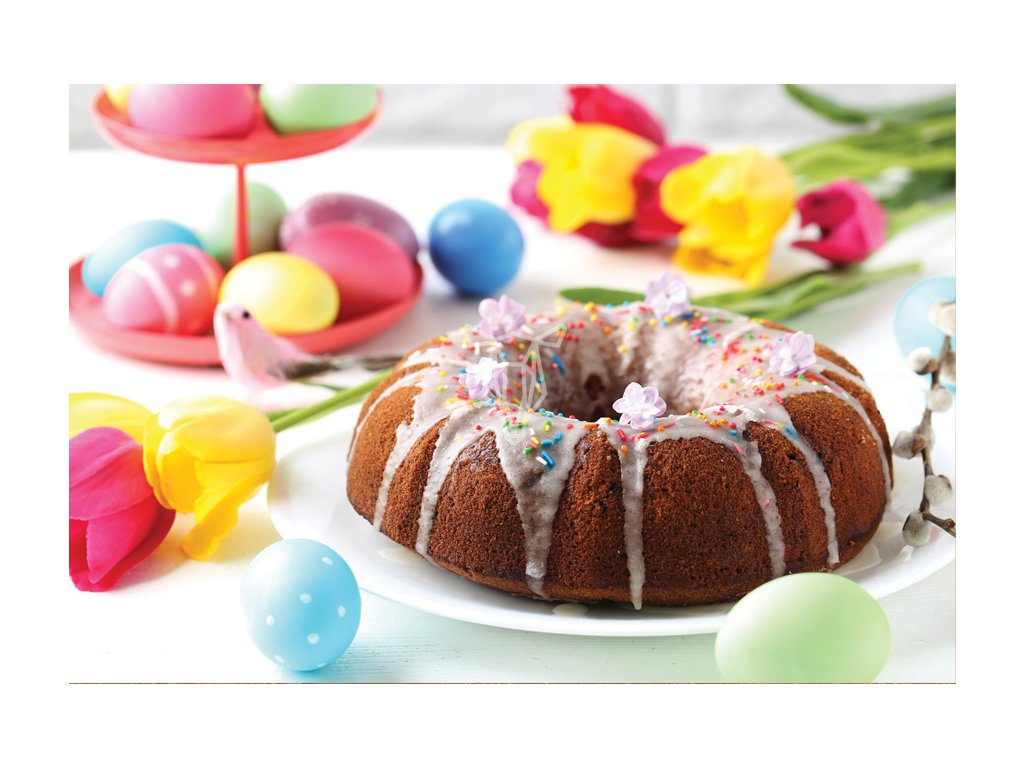 Easter cake and tulips