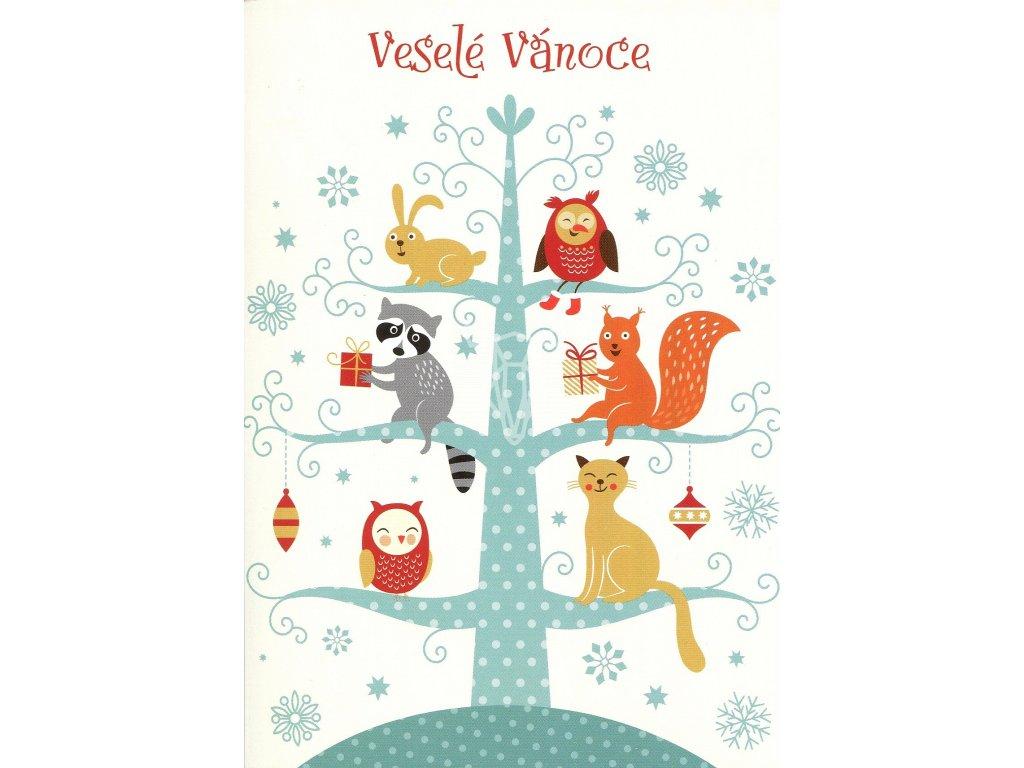 695 pohlednice vesele vanoce zviratka