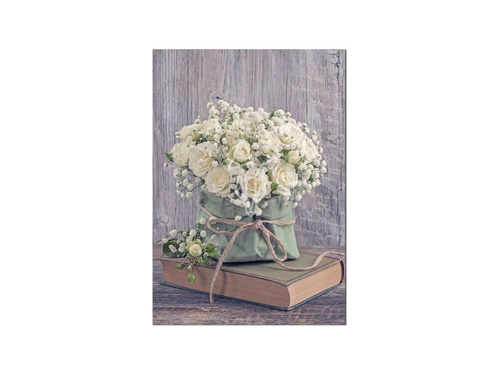 17666 pohlednice zatisi s kvetinou