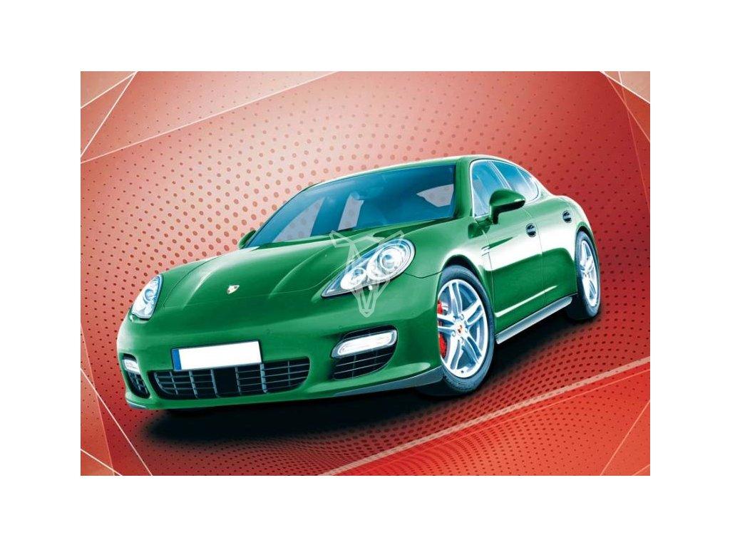 12734 3 pohlednice zelene auto