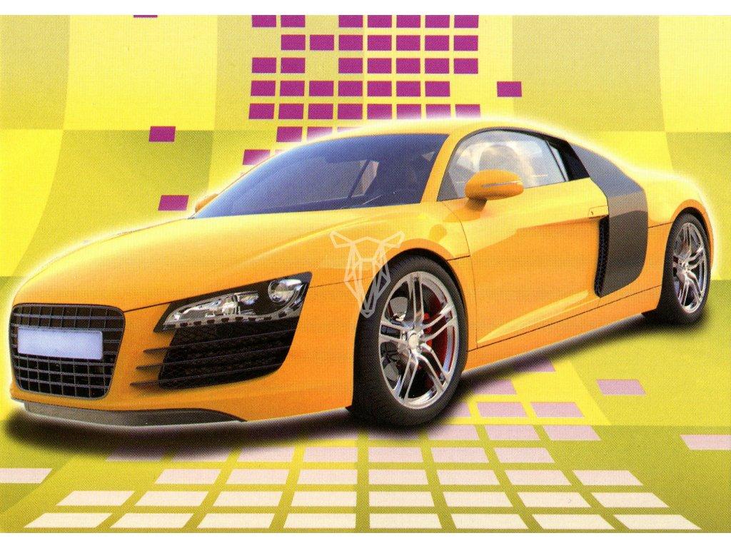 797 pohlednice zlute auto
