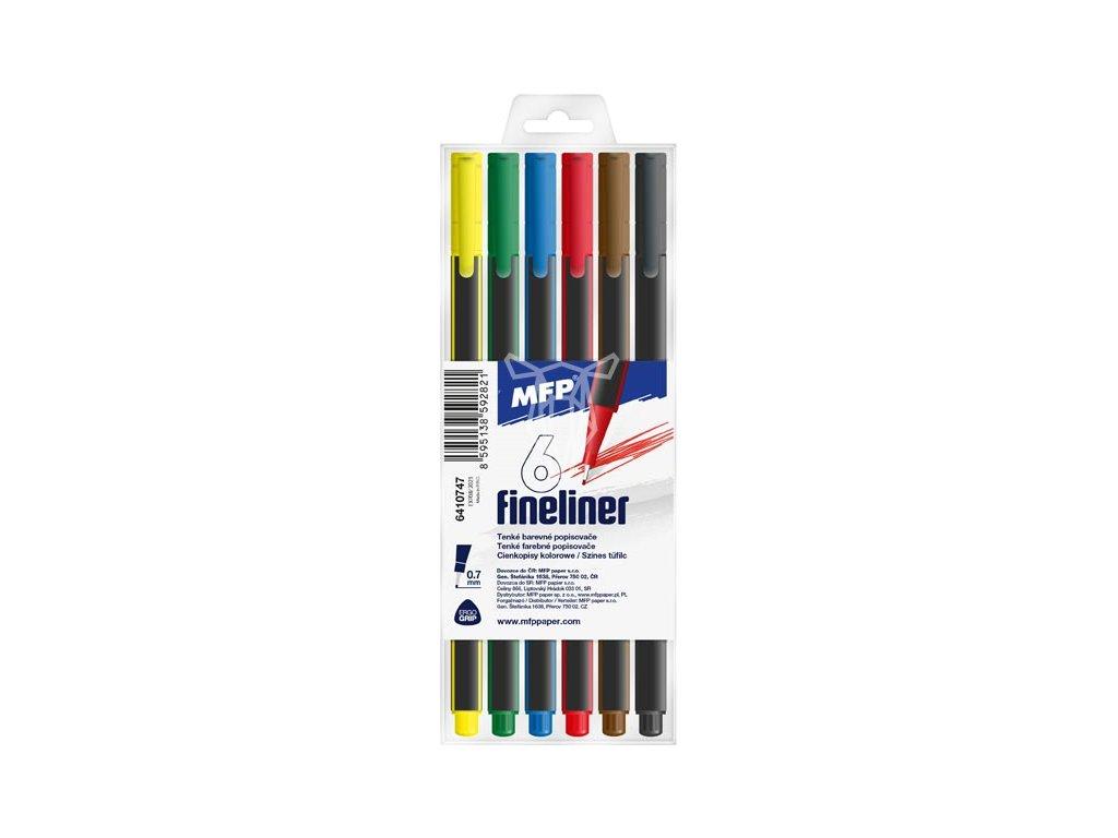 18743 popisovac fineliner 6 barev 0 7 mm trojhranne